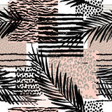 Trendy seamless exotic pattern with palm Stock Image