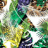 Trendy seamless exotic pattern with palm Royalty Free Stock Photo