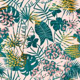 Trendy seamless exotic pattern tropical plants, animal prints and hand drawn textures. Vector illustration. Modern abstract design for paper, wallpaper, cover Royalty Free Stock Photos
