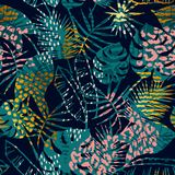 Trendy seamless exotic pattern tropical plants, animal prints and hand drawn textures. Vector illustration. Modern abstract design for paper, wallpaper, cover Royalty Free Stock Images