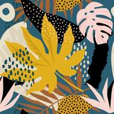 Trendy seamless exotic pattern with tropical plants and animal prints. Vector illustration. Modern abstract design for