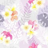 Trendy seamless exotic pattern with tropical plants and flowers. Modern abstract design for paper, wallpaper, cover Stock Photos