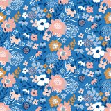 Trendy seamless floral ditsy pattern. Fabric design with simple flowers. Vector seamless background. Royalty Free Stock Images