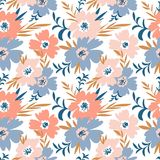 Trendy seamless floral ditsy pattern. Fabric design with simple flowers. Vector seamless background. Stock Photos