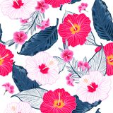 Trendy seamless floral pattern,Bright and fresh summer ba stock illustration