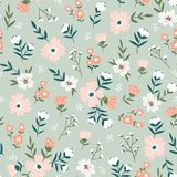 Fabric seamless design with simple flowers. Vector cute repeated ditsy pattern for fabric, wallpaper or wrap paper