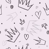 Trendy seamless girl pattern with crown, vector illustration. royalty free illustration