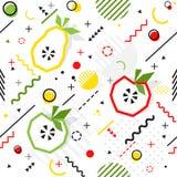 Trendy seamless, Memphis style apple, pear geometric pattern, ve Stock Photo