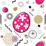 Trendy seamless, Memphis style Easter geometric pattern, vector. Illustration with line elements and  geometric figures. Design backgrounds for invitation Royalty Free Stock Images
