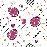 Trendy seamless, Memphis style Easter geometric pattern, vector. Illustration with line elements and  geometric figures. Design backgrounds for invitation Stock Images