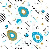 Trendy seamless, Memphis style Easter geometric pattern, vector. Illustration with line elements and  geometric figures. Design backgrounds for invitation Stock Photography