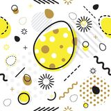 Trendy seamless, Memphis style Easter geometric pattern, vector. Illustration with line elements and  geometric figures. Design backgrounds for invitation Stock Photo