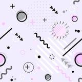 Trendy seamless Memphis style geometric pattern, vector royalty free illustration