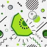 Trendy seamless, Memphis style kiwi geometric pattern, vector il. Lustration with line elements and  geometric figures. Design backgrounds for invitation Stock Images