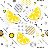 Trendy seamless, Memphis style lemon geometric pattern, vector. Illustration with line elements and  geometric figures. Design backgrounds for invitation Stock Photos
