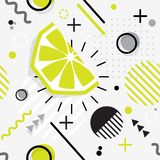 Trendy seamless, Memphis style  lime geometric pattern, vector. Illustration with line elements and  geometric figures. Design backgrounds for invitation Stock Photos