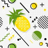 Trendy seamless, Memphis style pineapple geometric pattern, vect. Or illustration with line elements and  geometric figures. Design backgrounds for invitation Royalty Free Stock Photos