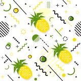 Trendy seamless, Memphis style pineapple geometric pattern, vect. Or illustration with line elements and  geometric figures. Design backgrounds for invitation Royalty Free Stock Photo