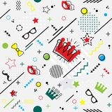 Trendy seamless, Memphis style Purim geometric pattern, vector i. Llustration with line elements and geometric figures. Design backgrounds for invitation royalty free illustration