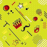 Trendy seamless, Memphis style Purim geometric pattern, vector. Illustration with line elements and geometric figures. Design backgrounds for invitation Stock Illustration