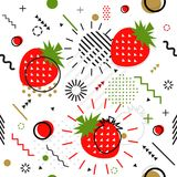 Trendy seamless, Memphis style strawberry geometric pattern, vec. Tor illustration with line elements and  geometric figures. Design backgrounds for invitation Stock Images