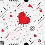 Trendy seamless, Memphis style Valentines geometric pattern. Vector illustration with line elements and abstract geometric figures. Design backgrounds for Royalty Free Stock Photos
