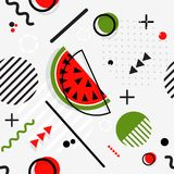 Trendy seamless, Memphis style watermelon geometric pattern , ve. Trendy seamless, Memphis style watermelon geometric pattern, vector illustration with line Stock Photo