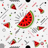 Trendy seamless, Memphis style watermelon geometric pattern, vec. Tor illustration with line elements and  geometric figures. Design backgrounds for brochure and Stock Photo
