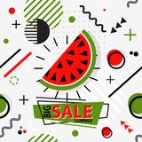 Trendy seamless, Memphis style watermelon geometric pattern, vec. Tor illustration with line elements and  geometric figures. Design backgrounds for brochure and Stock Photos