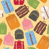Trendy seamless pattern with backpacks or rucksacks of various models and colors. Background with modern bags or stylish. Accessories. Colored vector Royalty Free Stock Photography