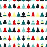 Trendy seamless pattern with Christmas trees. stock illustration