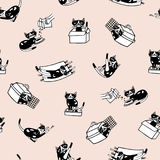 Trendy seamless pattern with comic kitten and its everyday activities against light pink background. Funny cartoon cat. Hand drawn in doodle style. Vector Royalty Free Stock Photos