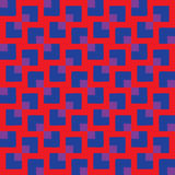 Trendy seamless pattern of different square shapes in blue and violet shades on red background Stock Photos