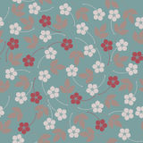 Trendy seamless pattern with flowers and leaves Stock Image