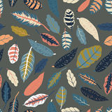 Trendy  seamless pattern with forest plants, leaves Royalty Free Stock Images