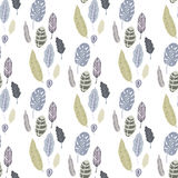 Trendy  seamless pattern with forest plants, leaves Royalty Free Stock Photos