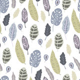 Trendy  seamless pattern with forest plants, leaves Stock Photography
