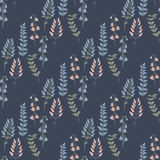 Trendy  seamless pattern with forest plants, leaves,, seeds and cones. Royalty Free Stock Image