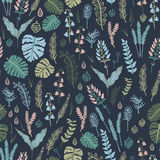Trendy  seamless pattern with forest plants, leaves,, seeds and cones. Royalty Free Stock Photo