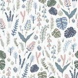 Trendy  seamless pattern with forest plants, leaves,, seeds and cones. Stock Images