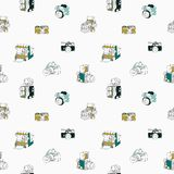 Trendy seamless pattern with hand drawn half colored vintage and modern photo cameras. On white background. Vector illustration in doodle style for wallpaper Stock Images
