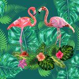 Trendy seamless pattern pink flamingo birds couple. Bright camelia flowers. Tropical monstera green leaves