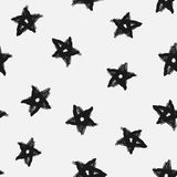 Trendy seamless pattern with stars drawn by hand. Grunge, graffiti, sketch, watercolour. Vector illustration Stock Photos