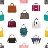 Trendy seamless pattern with stylish women`s bags or handbags of different  models on white 4a16c8aaf9792