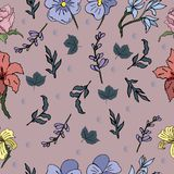 Trendy seamless vector pattern with beautiful flowers for your design royalty free illustration