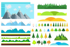 Trendy Set of different flat elements,trees, bushes , mountains and other natural objects. Royalty Free Stock Photography