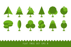 Trendy set of different trees. Simple geometric shapes Royalty Free Stock Photography