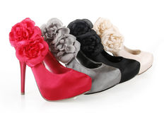 Trendy shoes with flowers Stock Images