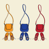 Trendy shoes and matching handbags. Design illustration of three sets of trendy casual lace-up shoes and matching handbags with shoulder straps isolated on a Stock Images