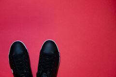 Trendy shoes on red background Stock Image